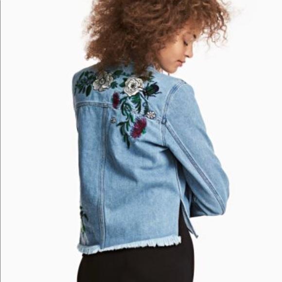6943f3402 H&M Jackets & Coats   Hm Coachella Embroidered Jean Jacket Size 6 ...